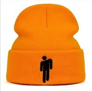 Neon orange hip hop Billie Eilish beanie